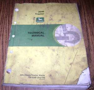 John Deere 2040 Tractor Technical Service Repair Manual