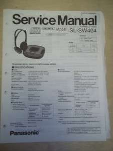 Panasonic Service Manual~SL SW404 Shock Wave CD Player~Original~Repair