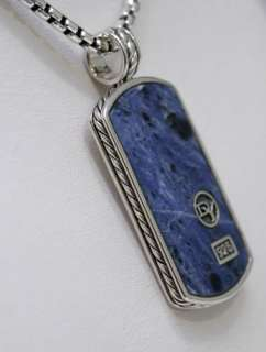 DAVID YURMAN Mens Blue Sodalite Lge Dog Tag Necklace 20 $695