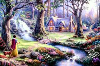 Discovers The Cottage 24x36 I/P Limited Thomas Kinkade Disney Canvas