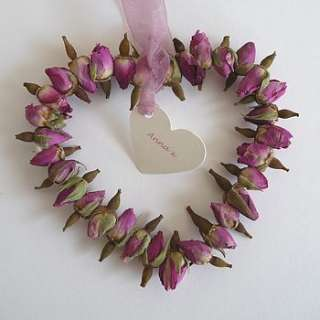 personalised mini dried pink rosebud heart by heavenly hearts