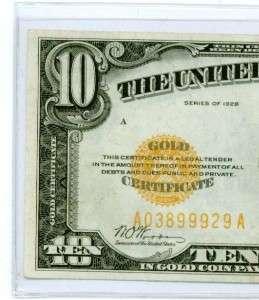 10 Dollar Bill Gold Certificate US Currency Ten Dollar Bill