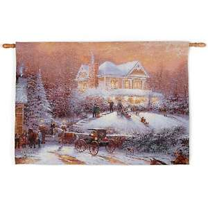 Victorian Christmas II Fiber Optic Musical Tapestry Wall Hanging at