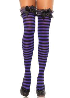 Bow Garter Top Striped Thigh Highs   Pantyhose, Stockings & Tights