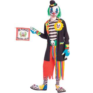 Evil Clown Adult   Includes: hat, 3/4 mask, jacket, shirt with