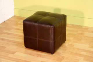 DARK BROWN BONDED LEATHER CUBE OTTOMAN FOOT STOOL REST NEW