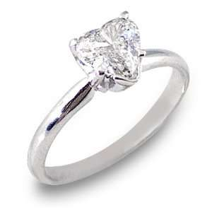 Gold Solitaire Heart Shape Diamond Engagement Ring 1 Carat Jewelry