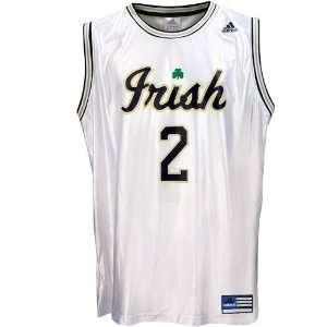adidas Notre Dame Fighting Irish #2 White Youth Replica Basketball