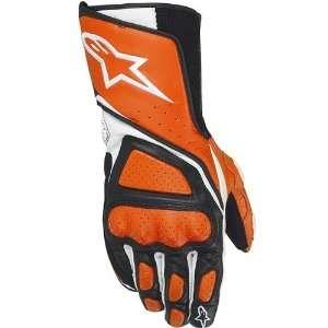 Mens Leather Street Bike Racing Motorcycle Gloves   Orange / Large