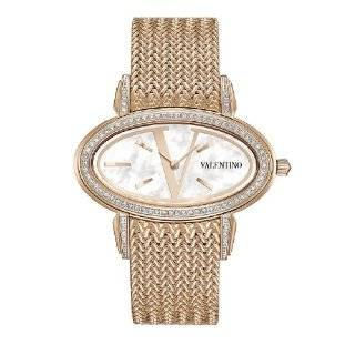 Signature Rose Gold Plated Oval Black Dial Watch Watches