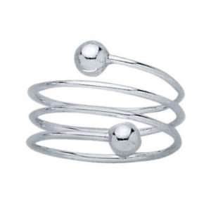 Sterling Silver Balls Spiral Band Ring   Size 6 Jewelry