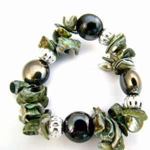 Vogue Green Shell Glass Beads Stretch Bracelet Bangle