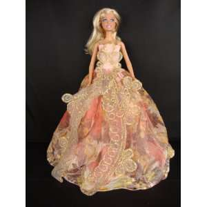 Gown with Large Gold Details Made to Fit the Barbie Doll Toys & Games