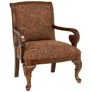 Sienna Brown Paisley Chenille Fruitwood Chair