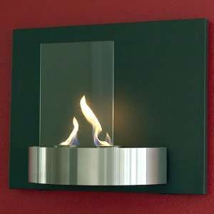 Vivido Wall Mounted Fireplace Tempered Clear Glass Black