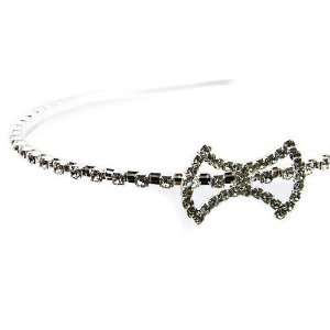 Silver Tone White Crystal Bow Design Alice Band Design Jewelry