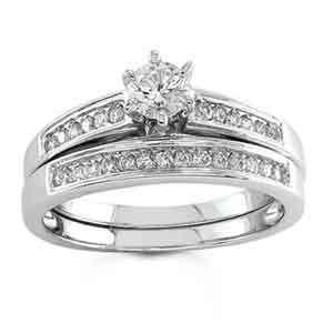 14k White Gold Diamond Bridal Set Ring (0.55 ctw) Jewelry