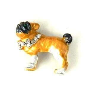Enameled Bull Dog Brooch Pin with clear Austrian Rhinestone Jewelry
