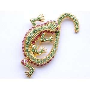 Fuchsia Pink Crystal Rhinestone Golden Lizard Gecko Reptile Pin Brooch