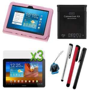 GTMax Pink Folio Leather Protector Cover Case with Stand