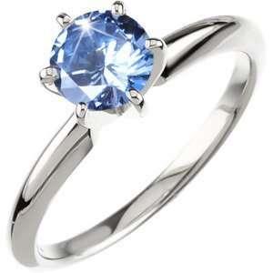 18K White Gold Ring with Fancy Blue Diamond 1/4 carat Brilliant cut