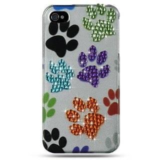 Bling Design Hard Case Cover   Multi Colored Dog Paw Print Design Gem