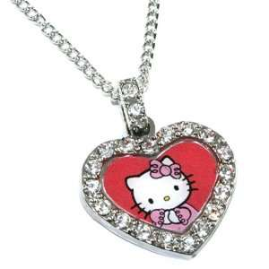 Licensed Sanrio Hello Kitty Red Heart Charm Necklace with