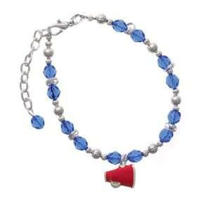 Small Red Megaphone Blue Czech Glass Beaded Charm Bracelet