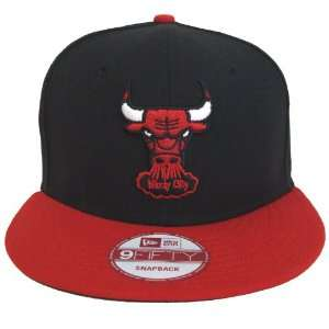 Chicago Bulls New Era Logo Snapback Cap Hat Black Red