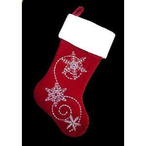 19 Red Velvet Christmas Stocking With Silver Snowflake