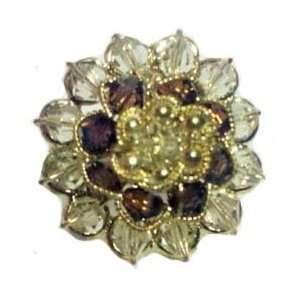 Floral Cluster Design Rhinestone Ring   Adjustable