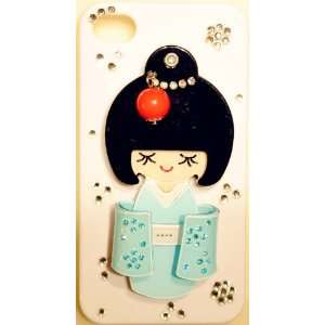 3D Japanese Girl in BLUE KIMONO with Mirror White Case for