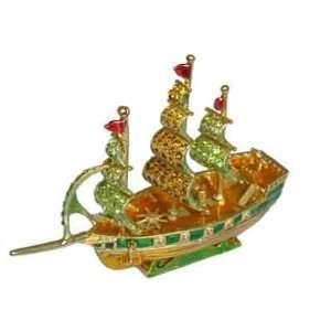 Sail Boat   Jewelry Trinket Box Swarovski Crystal (JF1691)