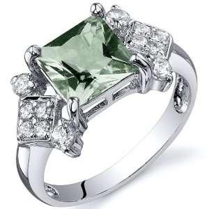 Princess Cut 1.50 carats Green Amethyst Cubic Zirconia Ring