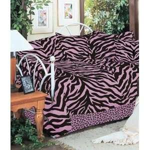 Black & Pink Zebra Print Daybed Cover Set