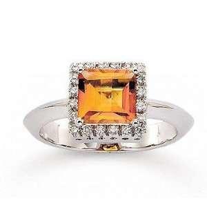 14k White Gold Diamond Princess Citrine Fashion Ring Jewelry