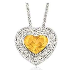 14k Woven White Gold Citrine Diamond Heart Necklace Jewelry
