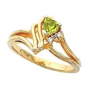 14K Yellow Gold Heart Shaped Peridot and Diamond Ring Jewelry