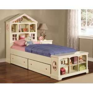 Doll House Twin Bed W/ Trd Drw 44x98.5 Antique White