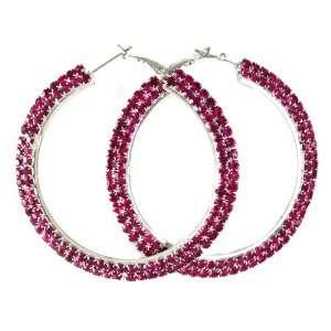Double Lined Pink Crystal 2 Hoop Earrings Hematite/Black Finish