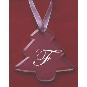 Glass Christmas Tree Ornament with the Letter F