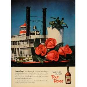 Ad Four Roses Whiskey Mississippi Steamboat Drink   Original Print Ad