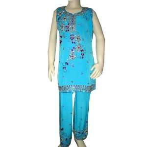 Ethnic Party Wear  Baby Blue Embroidered Girls Wear Salwar Kameez with