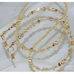 Swarovski Aurora Borealis Crystals & Pearls Eyeglass Holder Chain