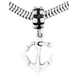Silver Double Sided Faith Anchor Dangle Bead Charm Jewelry