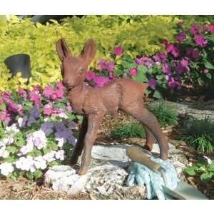 Iron Deer Fawn Home Garden Sculpture Statue Figurine