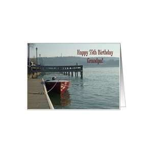 Fishing Boat Grandpa 55th Birthday Card Card