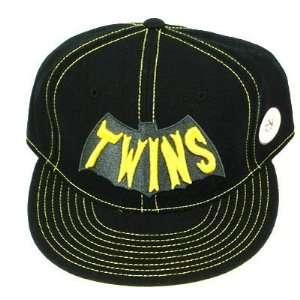 MLB MINNESOTA TWINS FLAT BILL FITTED HAT BATMAN 7 5/8