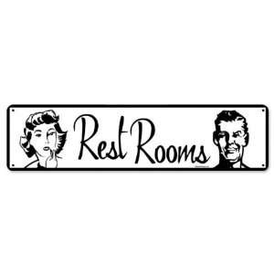 Restrooms Miscellaneous Metal Sign   Garage Art Signs Home & Kitchen
