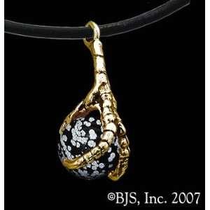 14k Yellow Gold, Snowflake Obsidian set gemstone, Eagle Animal Jewelry